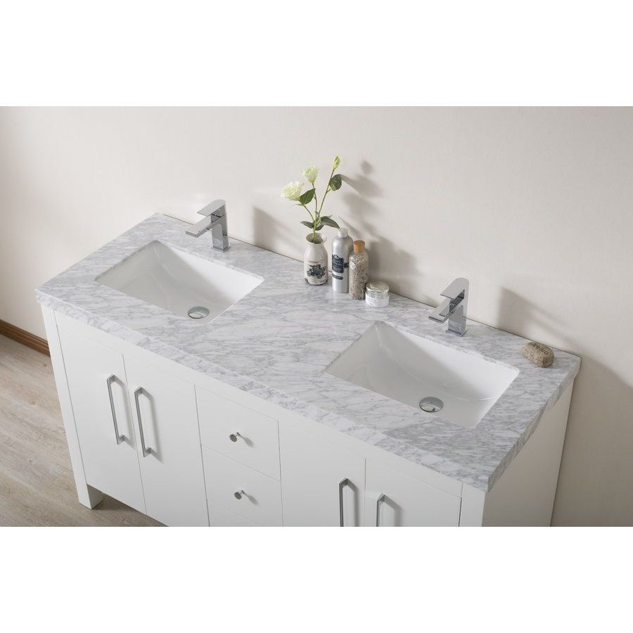 Stufurhome Adler 60 Inch Double Sink Bathroom Vanity With Faucets