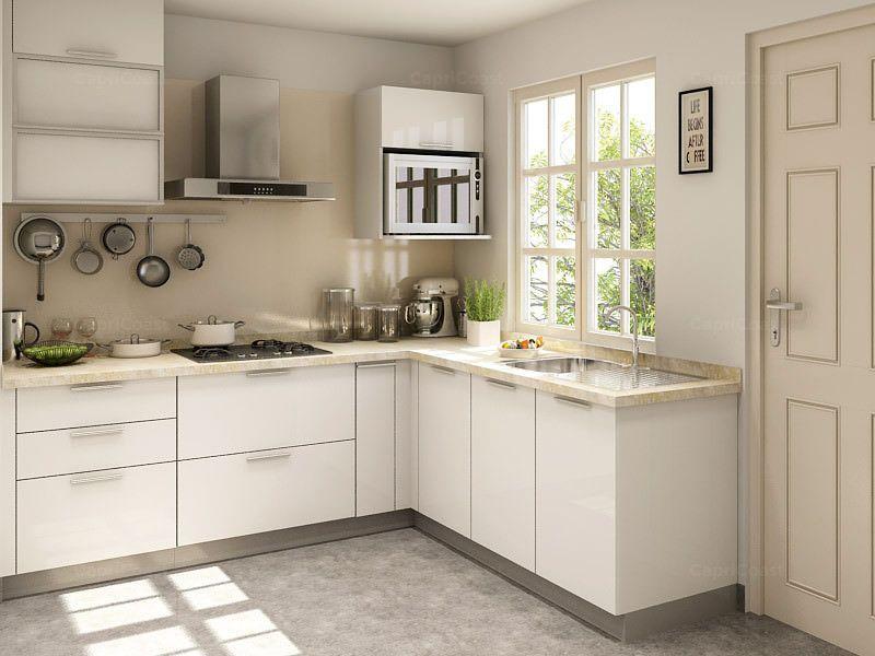 White Modern L Shaped Kitchen Design L Shape Kitchen Layout Simple Kitchen Design L Shaped Modular Kitchen