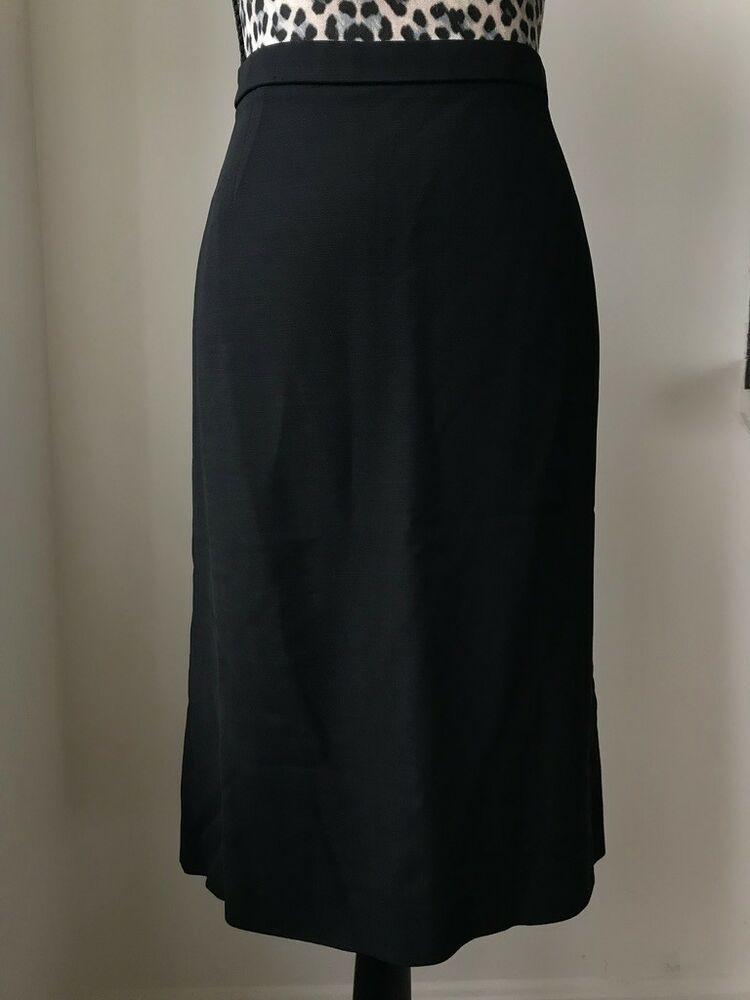 72242cfa25f076 Donna Karan Signature Vintage 90s Black Wool Stretch Pencil Skirt, size 14 # DonnaKaran #