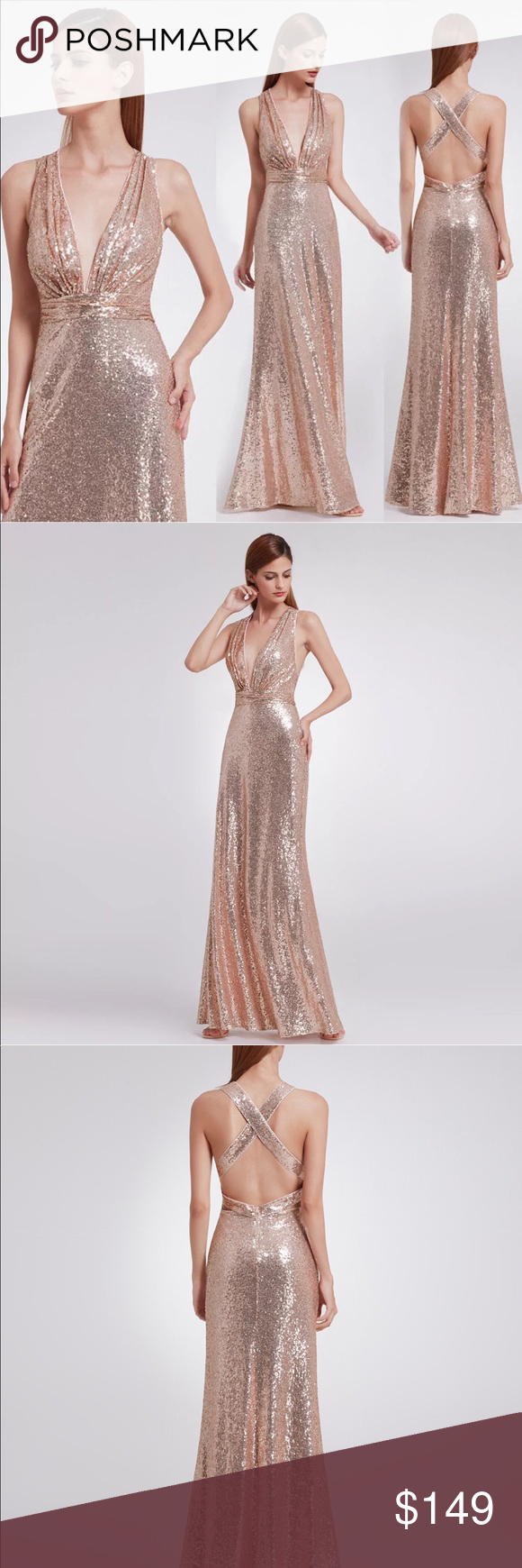 Dazzling rose gold long sequin evening prom gown boutique my posh
