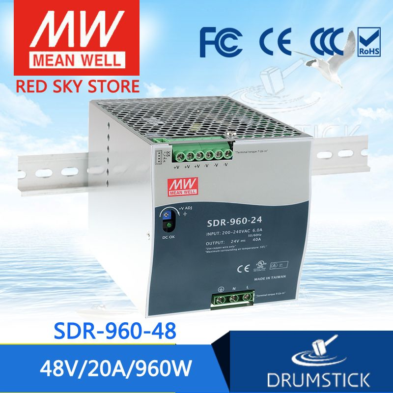 MW Mean Well SDR-960-48 48V 20A 960W Single Output Industrial DIN RAIL with PFC Function Power Supply