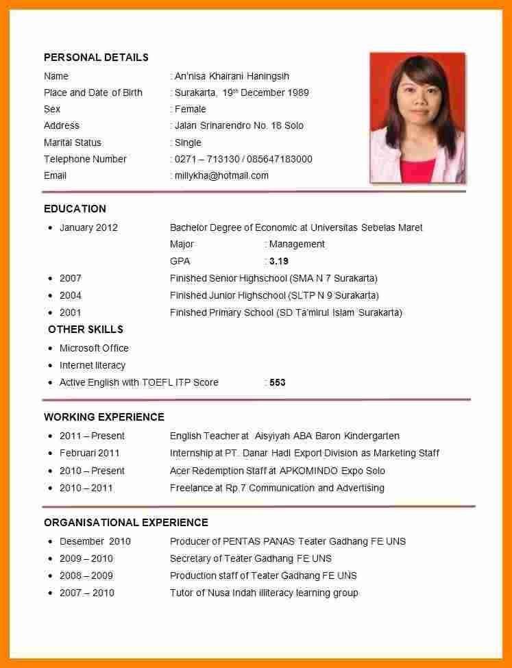 Cv Template Job Application Application Cvtemplate Template Riwayat Hidup Resume Guru Resume Keren