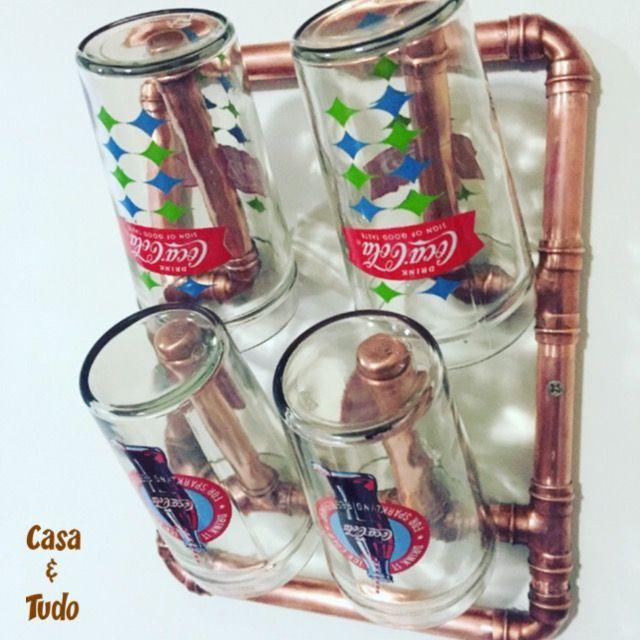 Suporte de parede para 4 copos, todo de cobre: casaetd@gmail.com IG: @casaetudo