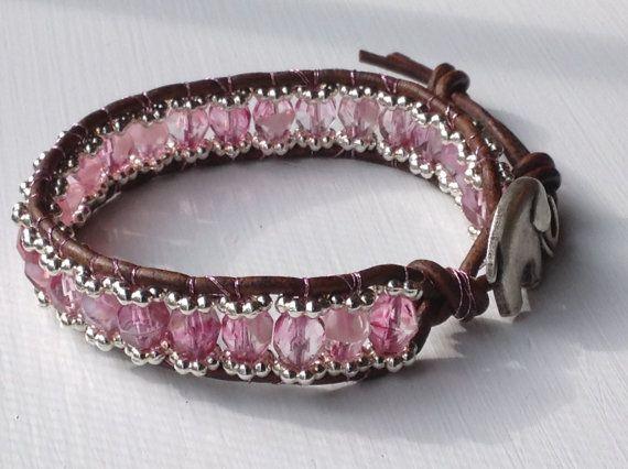 Pink bohemian wrap bracelet with czech glass by MantovaniDesigns, $32.00