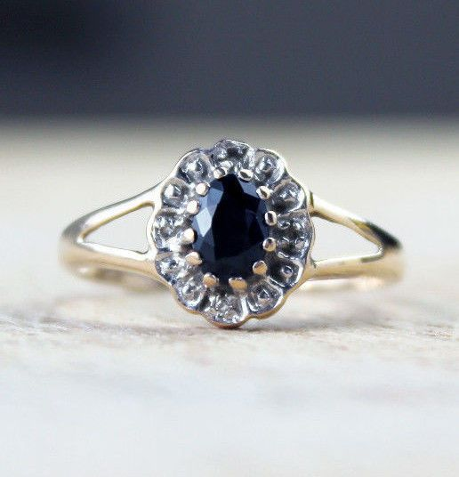 Vintage 9ct Gold Diamond Ring Sapphire Cluster Engagement Wedding Size O.5 / 7.5