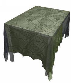 Black spiderweb lace tablecloth - necessary gothic decor.
