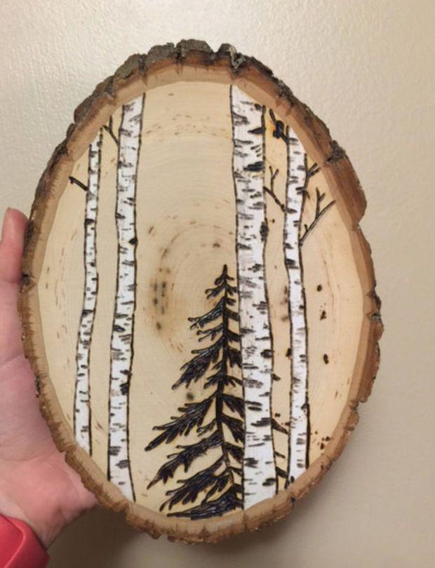 4x 6 Wooden Art Pyrography Wood Burning Birch Trees Natural Decor Wall Pine Tree Minimalist