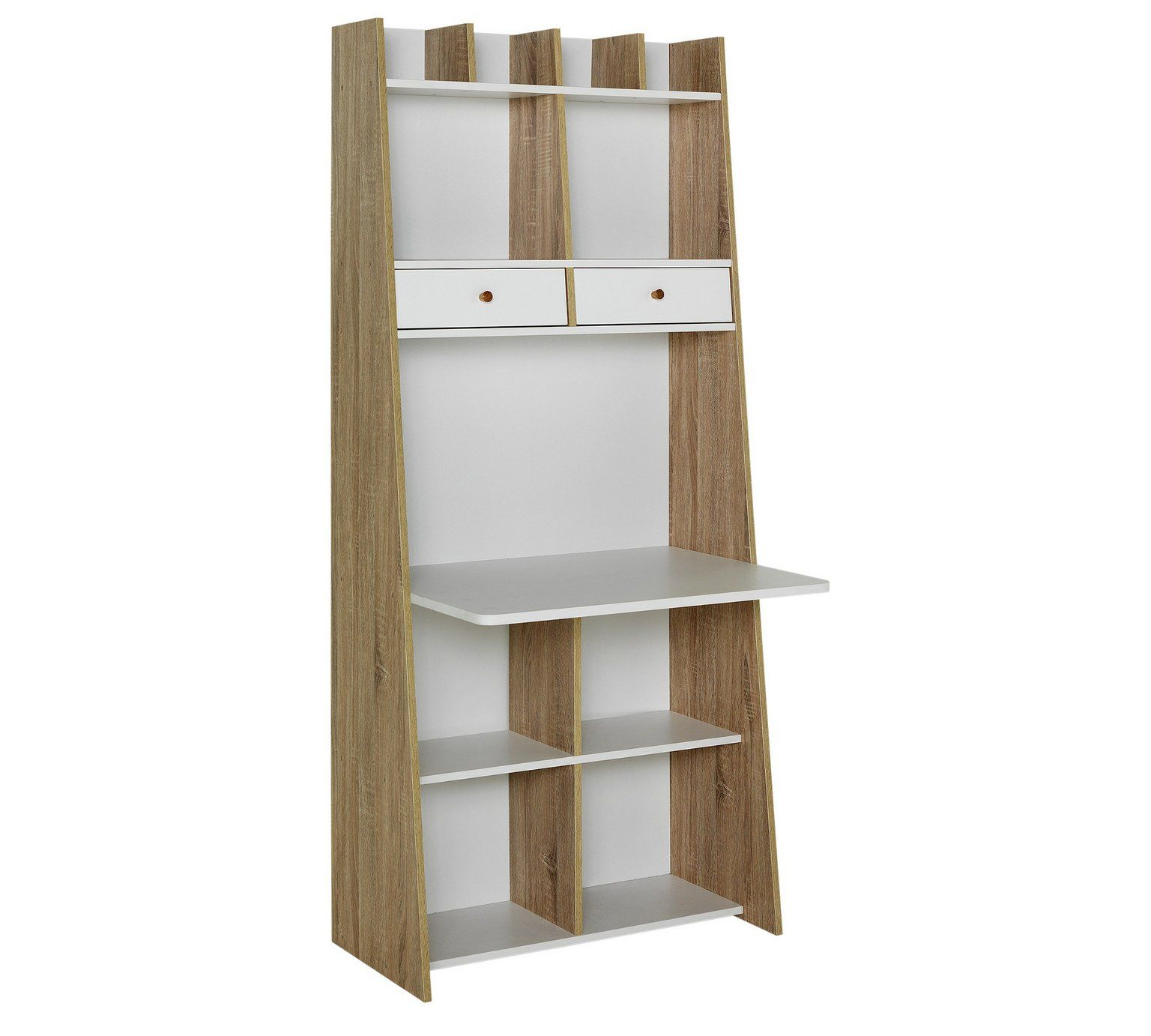 Buy Auckland 2 Drawer Wall Unit Desk - White and Oak Effect at Argos ...