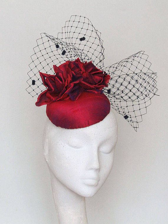 d4bec8eb Red Silk Fascinator, Kentucky Derby Hat, Royal Ascot Hat, Mother of ...