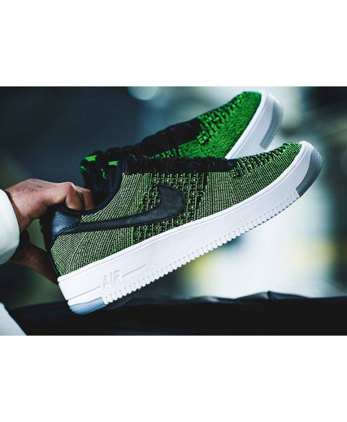 newest 5df15 a3fab Nike Air Force 1 Low (Basse) Flyknit avec des Homme verts