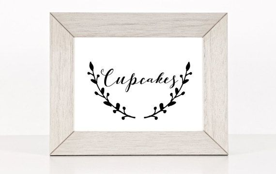 Cupcakes Wedding, Party, Shower Sign Classic Calligraphy Design by ElPortoCollections