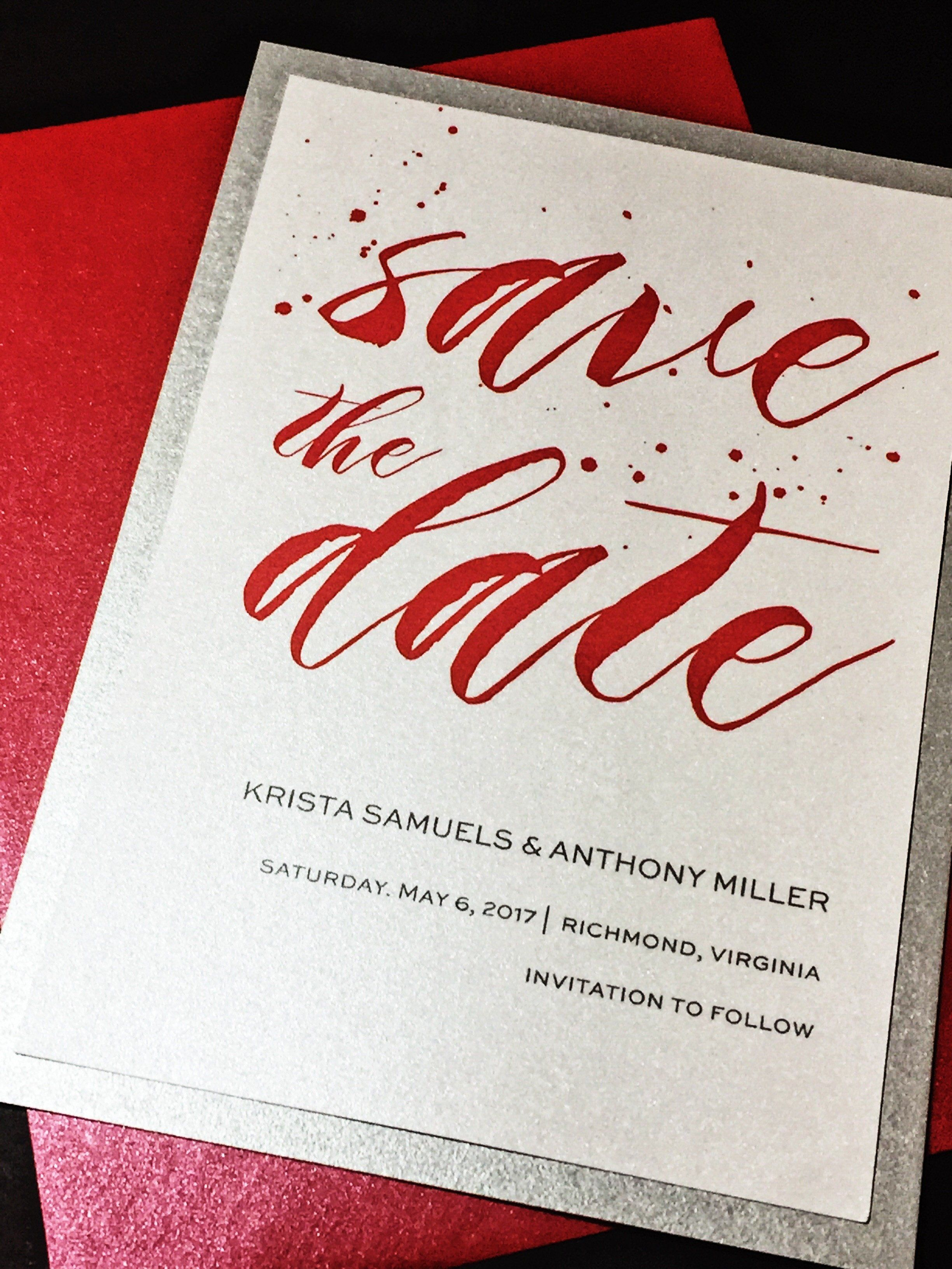 Wedding Save the Date; Red and Silver Save the Date; KRISTA version ...