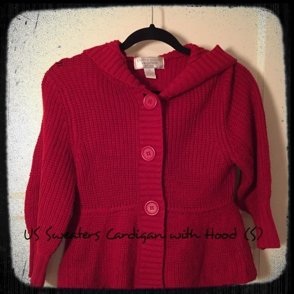 United States Sweaters Small Red Hooded Cardigan | Hooded cardigan ...