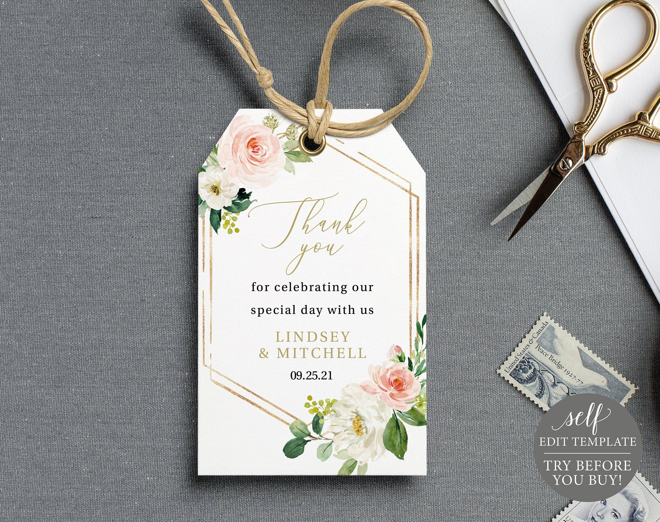 Editable Text Rustic Party Favor Tag Template Cute INSTANT DOWNLOAD Garden Wedding Blush Greenery Florals Wedding Decor Pastels