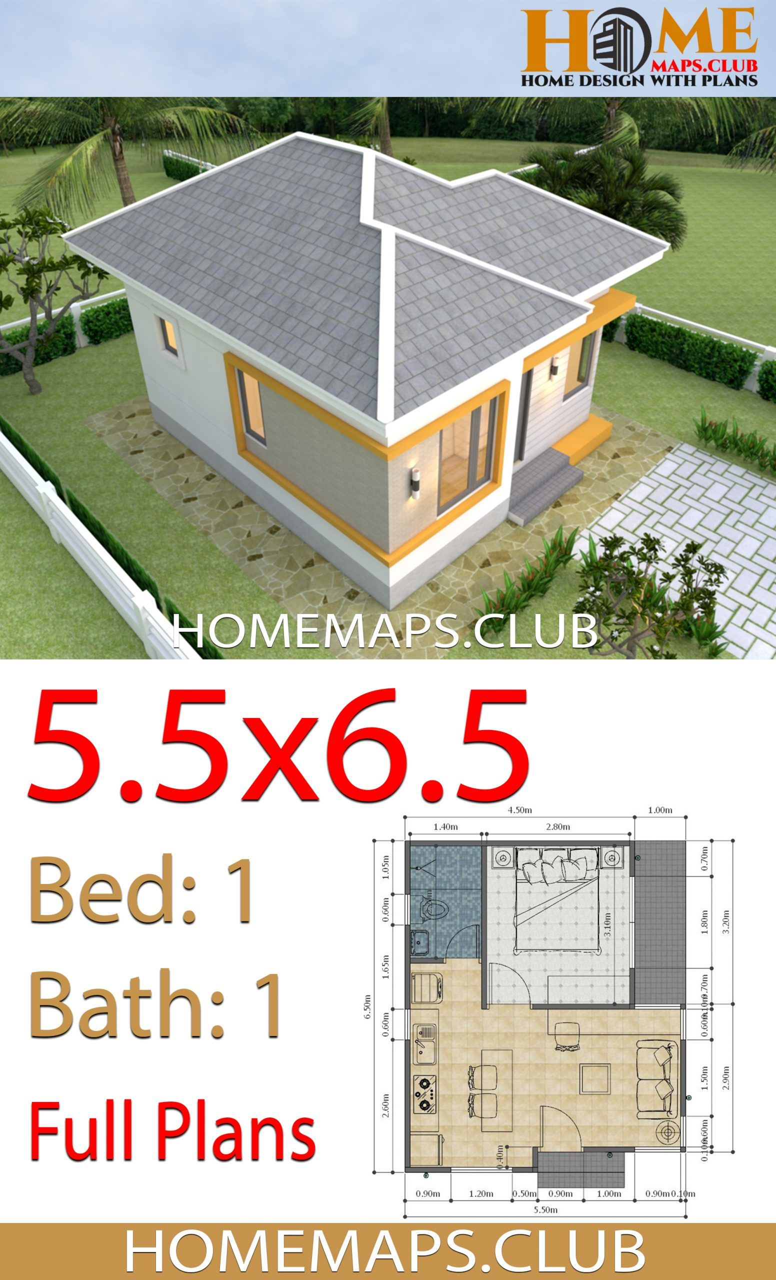 Small House Plans 5 5x6 5 With One Bedroom Hip Roof In 2020 Small House Design Plans Small House Plans House Plans