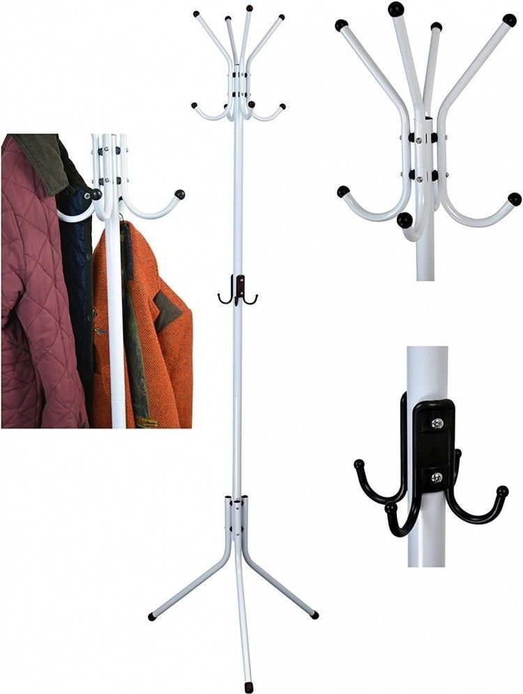 White Metal Coat Stand Clothes Rack Home Office Entry Hanger Jacket Organiser Clothing Rack Coat Stands Home