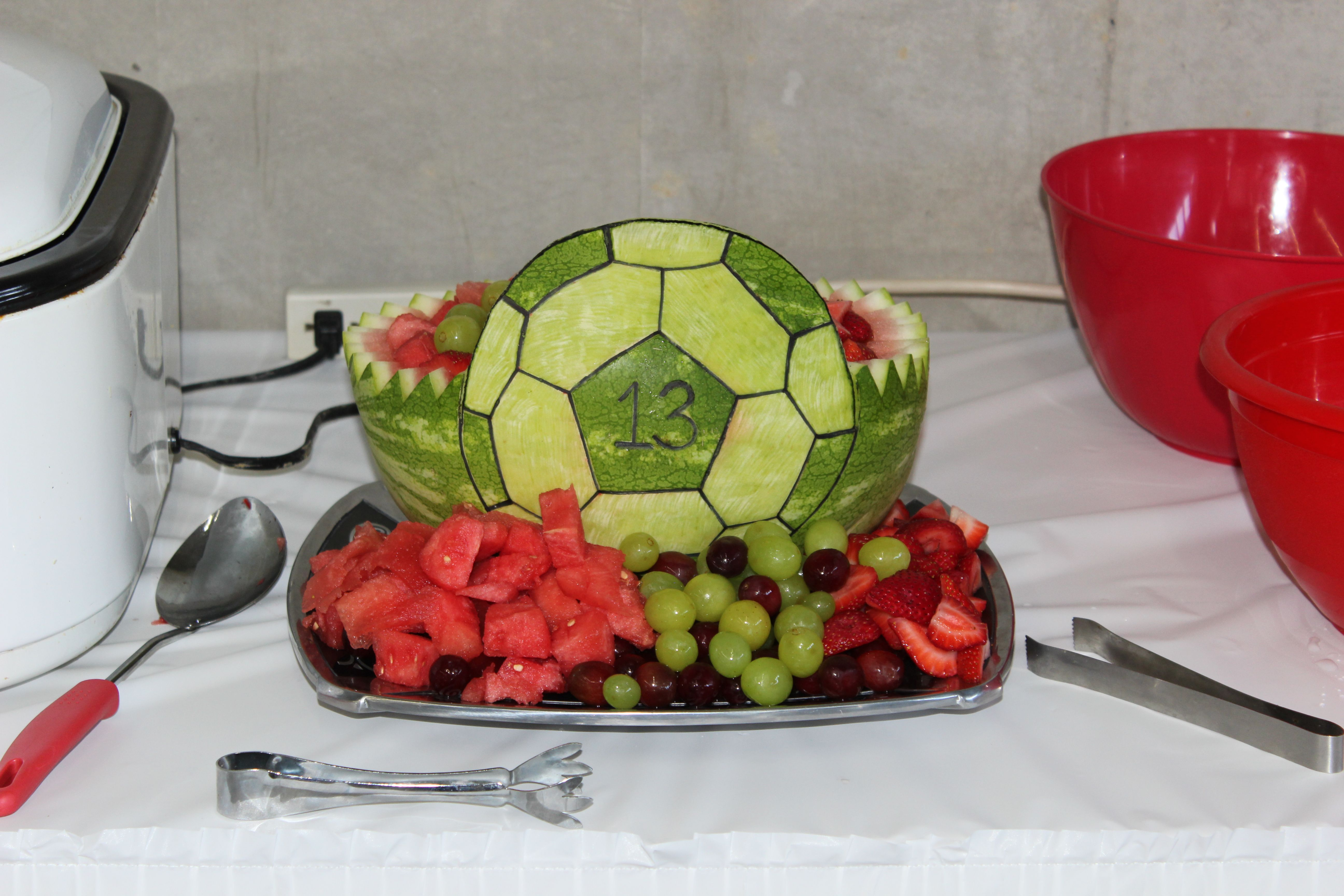Watermelon carved into a Soccer Ball | Graduation | Pinterest ...