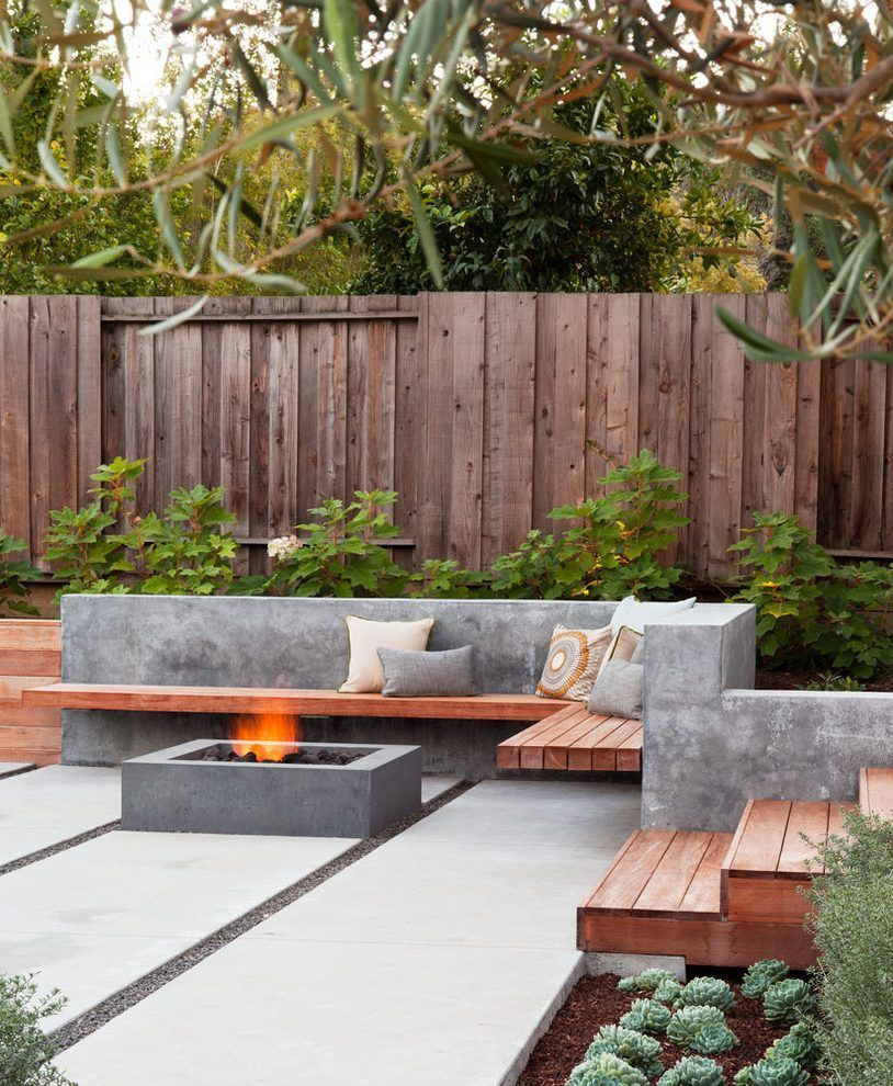 Backyard Patio Diy: Concrete Wall Fence Designs Patio Contemporary With Wood