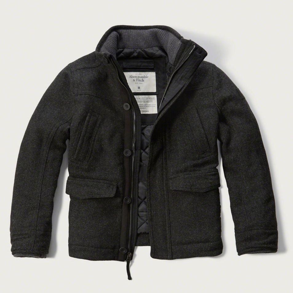 Abercrombie Fitch Men S Quilt Lined Wool Coat Jacket Large Dark Grey Gray 220 Wool Jacket Men Wool Jacket Mens Jackets [ 953 x 953 Pixel ]