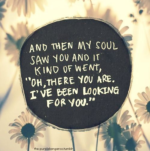 And Then My Soul Saw You And It Kind Of Went Oh There You Are I