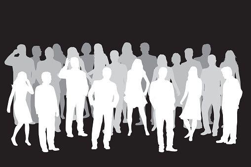 Multitud De Gente Silueta: Grupo De Personas. Multitud De Siluetas De Personas