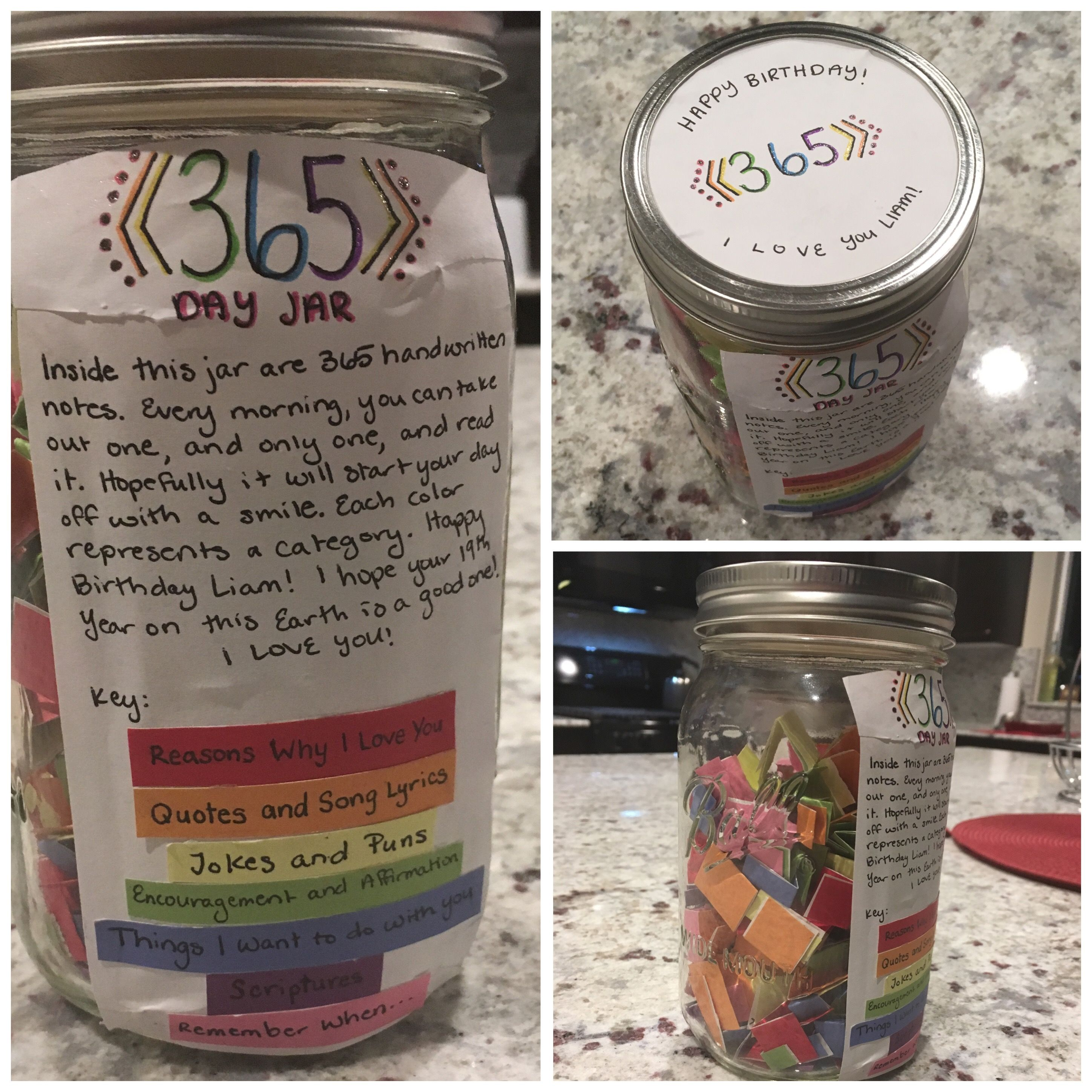 365 Jar Done For My Boyfriend Cute Way To Make A Present Last For A Year Cute Boyfriend Gifts Diy Gifts In A Jar Happy Jar