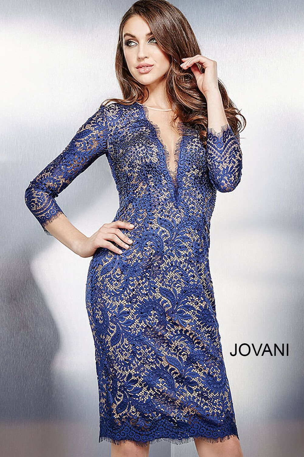 Slip on this #jovani 33206 long sleeve lace dress for an effortless ...