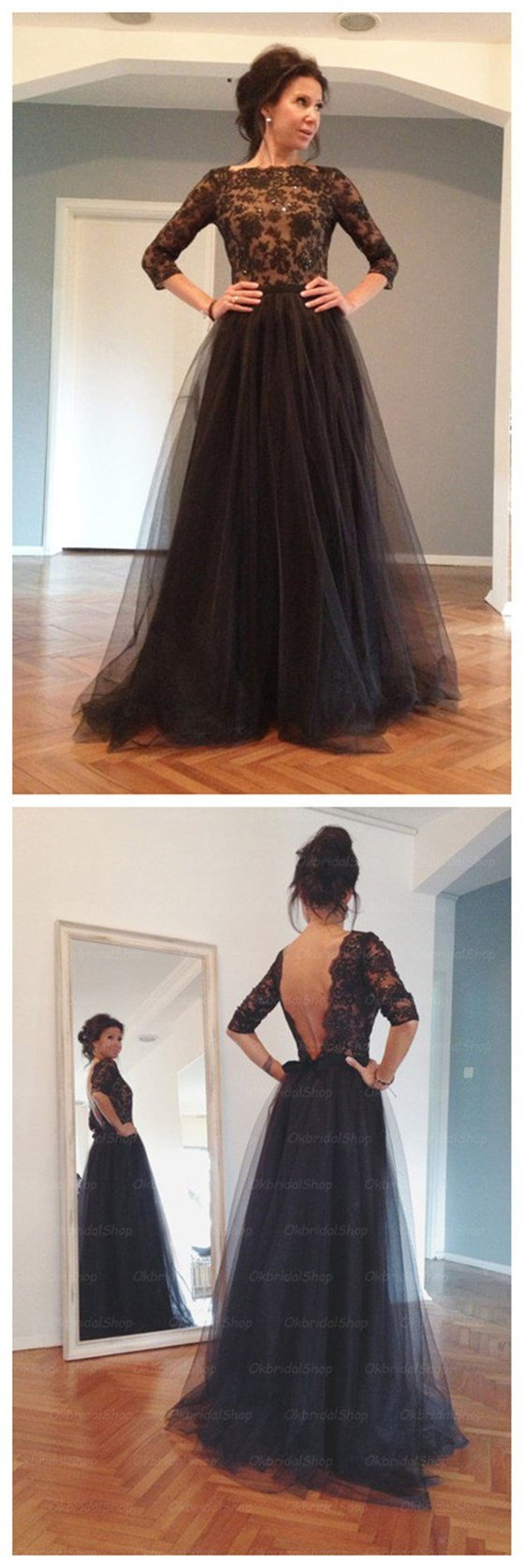 Black prom dress lace prom dress long sleeves prom dress backless