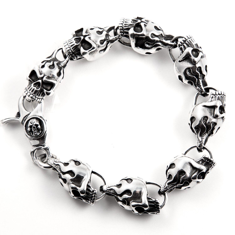 Menus silver flame skull bracelet skull clasp