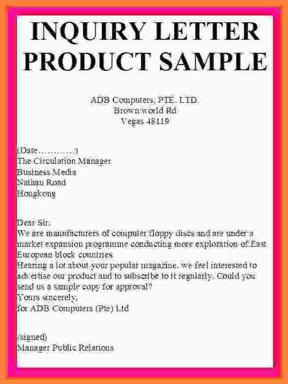 Example Inquiry Letter Enquiry Sample Product Business Template Word  Format Of Letter Of Enquiry