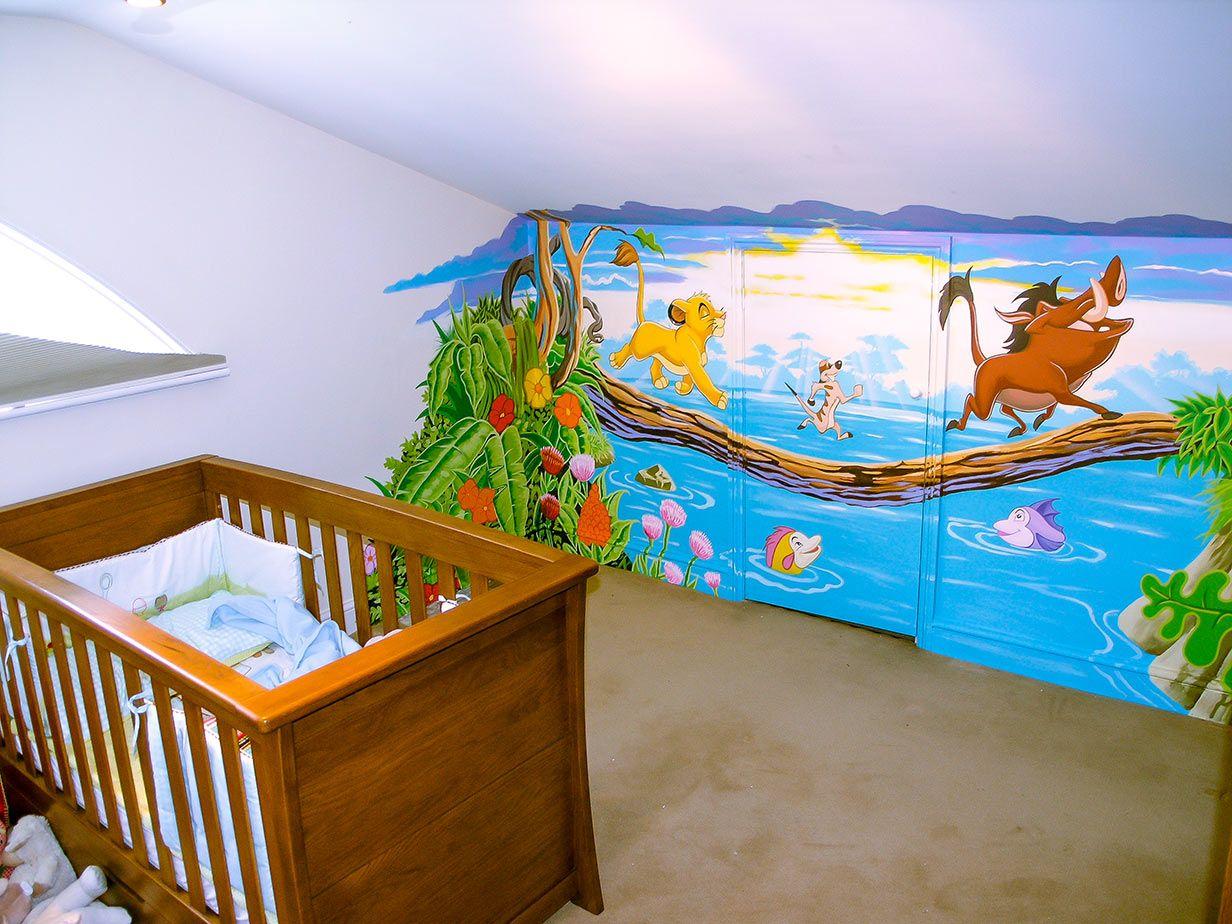 Disney S Lion King Wall Mural Handpainted In Attic Room