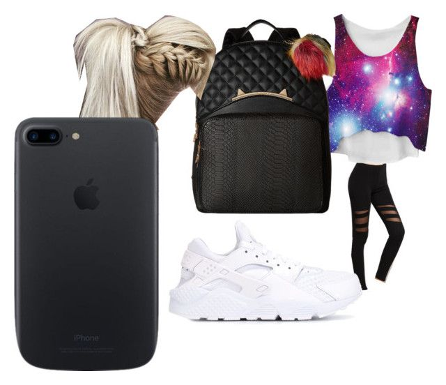 """""""bored n school 🎒 😐😶"""" by pettyallthe on Polyvore featuring beauty, NIKE and Betsey Johnson"""