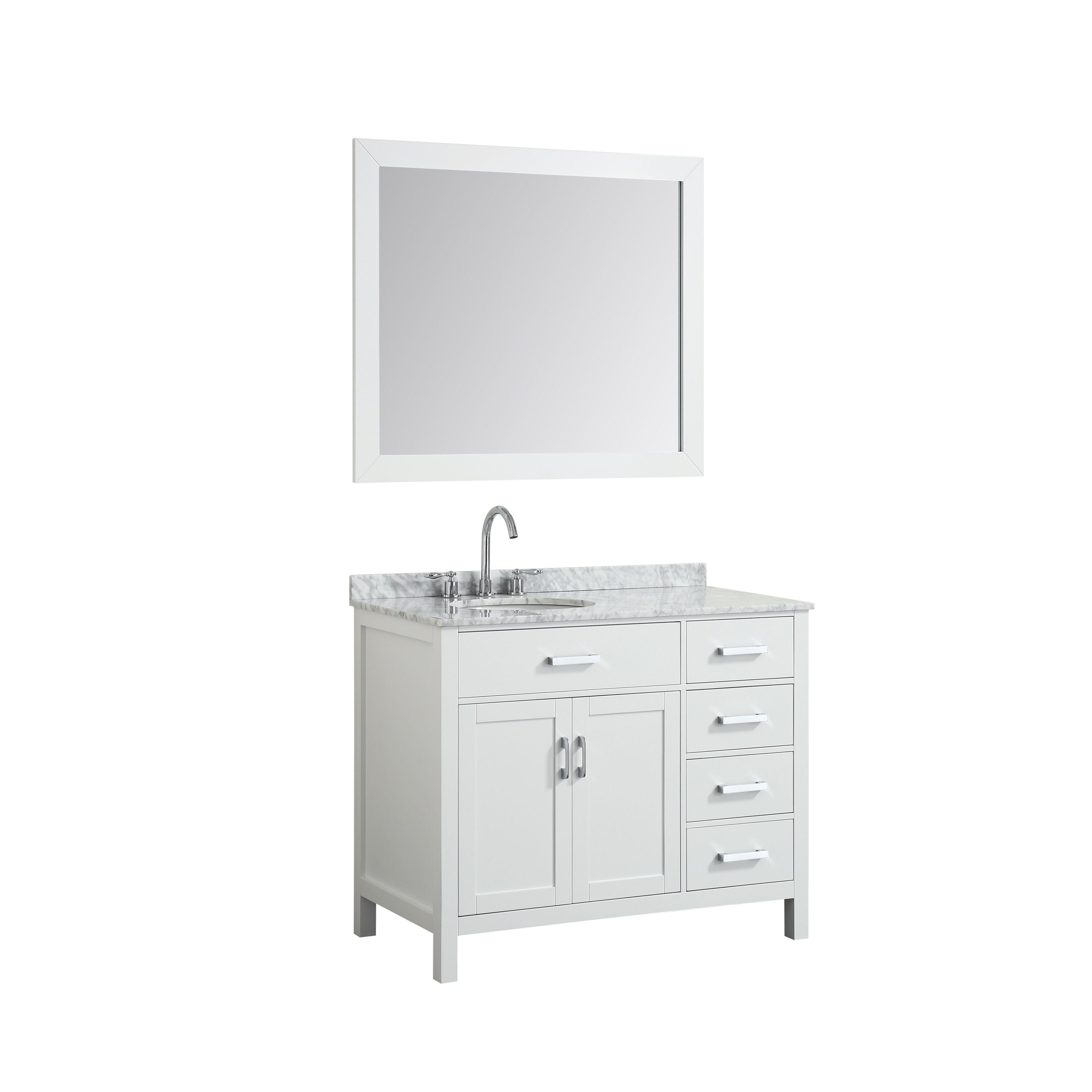 Belmont Decor Hampton 43 Single Oval Sink Vanity Set W Left Offset In White Single Sink Bathroom Vanity Marble Vanity Tops Vanity
