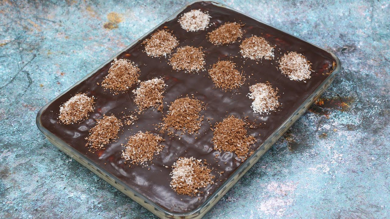 حلى البسكويت البارد بصوص الشوكولاتة اللذيذ بدون فرن وبدون بيض وبدون كريمه مطبخ منال العالم Desserts Food Brownie