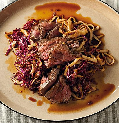 Asian beef and red cabbage noodle salad