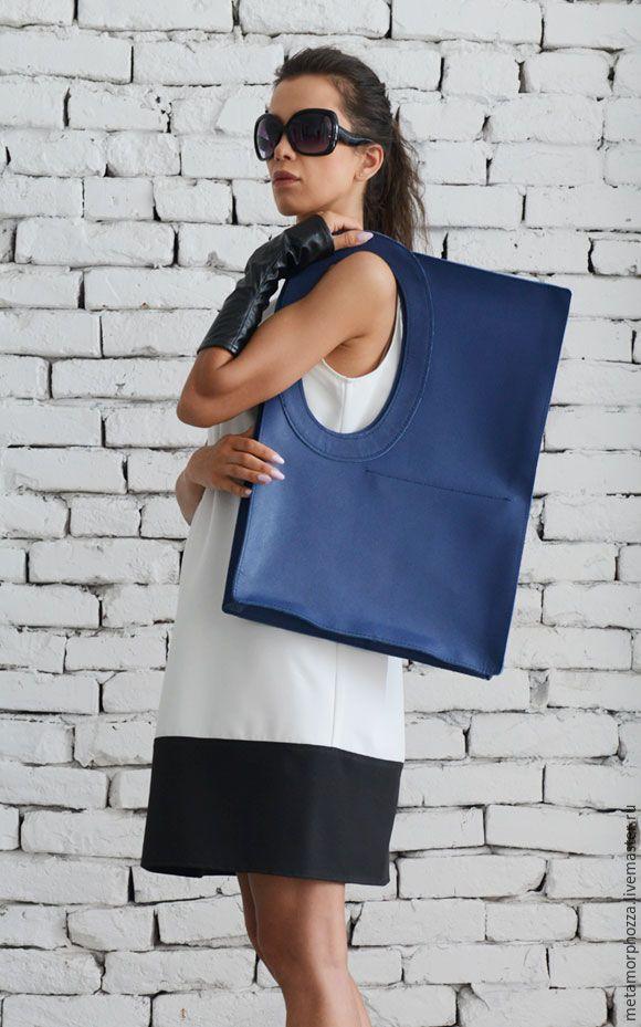 Leather Blue Tote - сумка, сумка из натуральной кожи, сумка на каждый день
