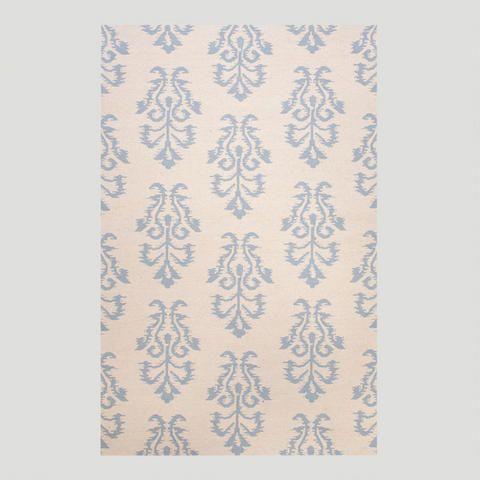 White and Blue Filigree Flat-Woven Wool Rug   World Market
