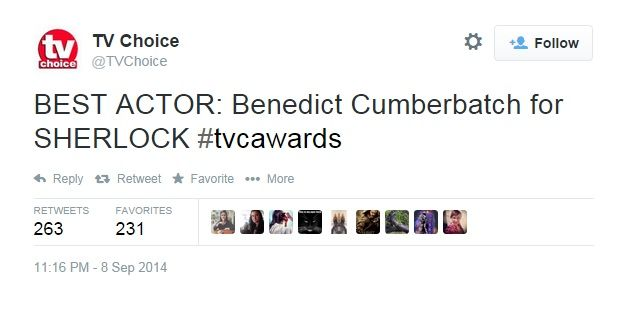 Benedict won Best Actor for Sherlock at the TV Choice awards 8th September 2014. His mum and dad collected the award on his behalf!