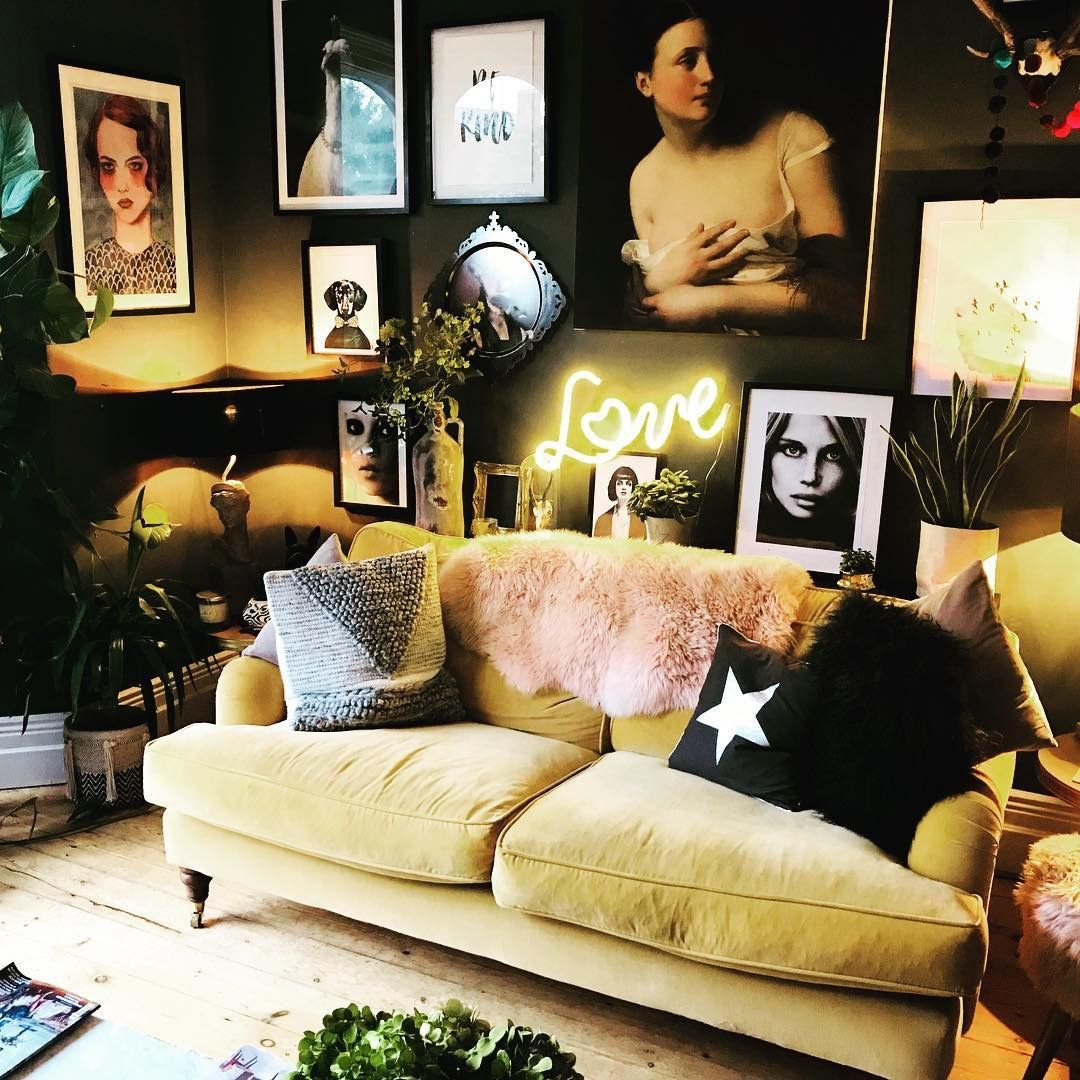 living room | home decor | apartment decoration | small space | gallery wal  | dark and moody | black wall | y… | Home decor bedroom, Rooms home decor,  Eclectic home