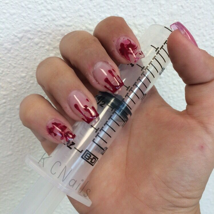 Clear overlay nails with hand painted blood drips Halloween nails ...