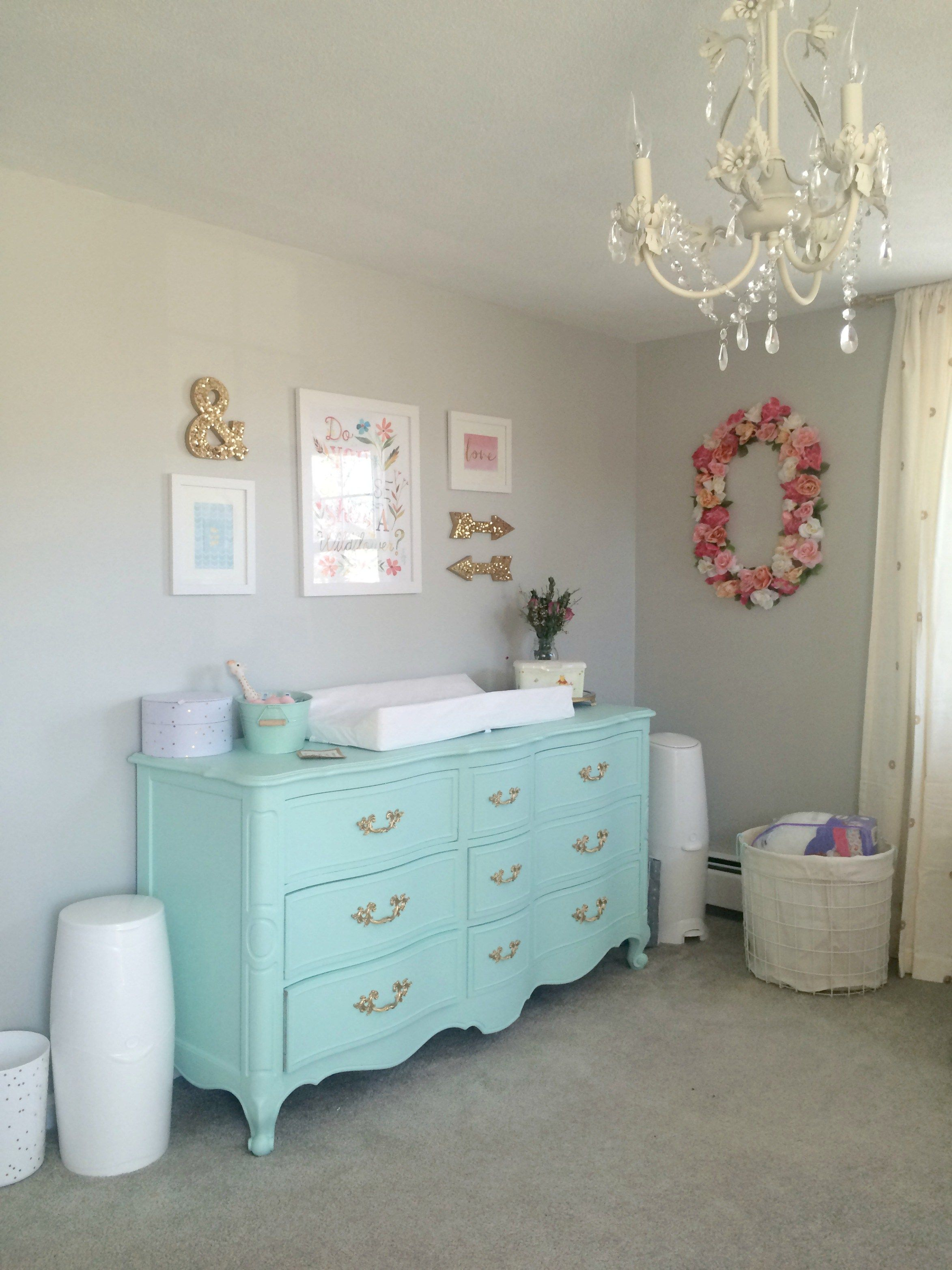 mint dresser as changing table | Painted Pieces | Pinterest