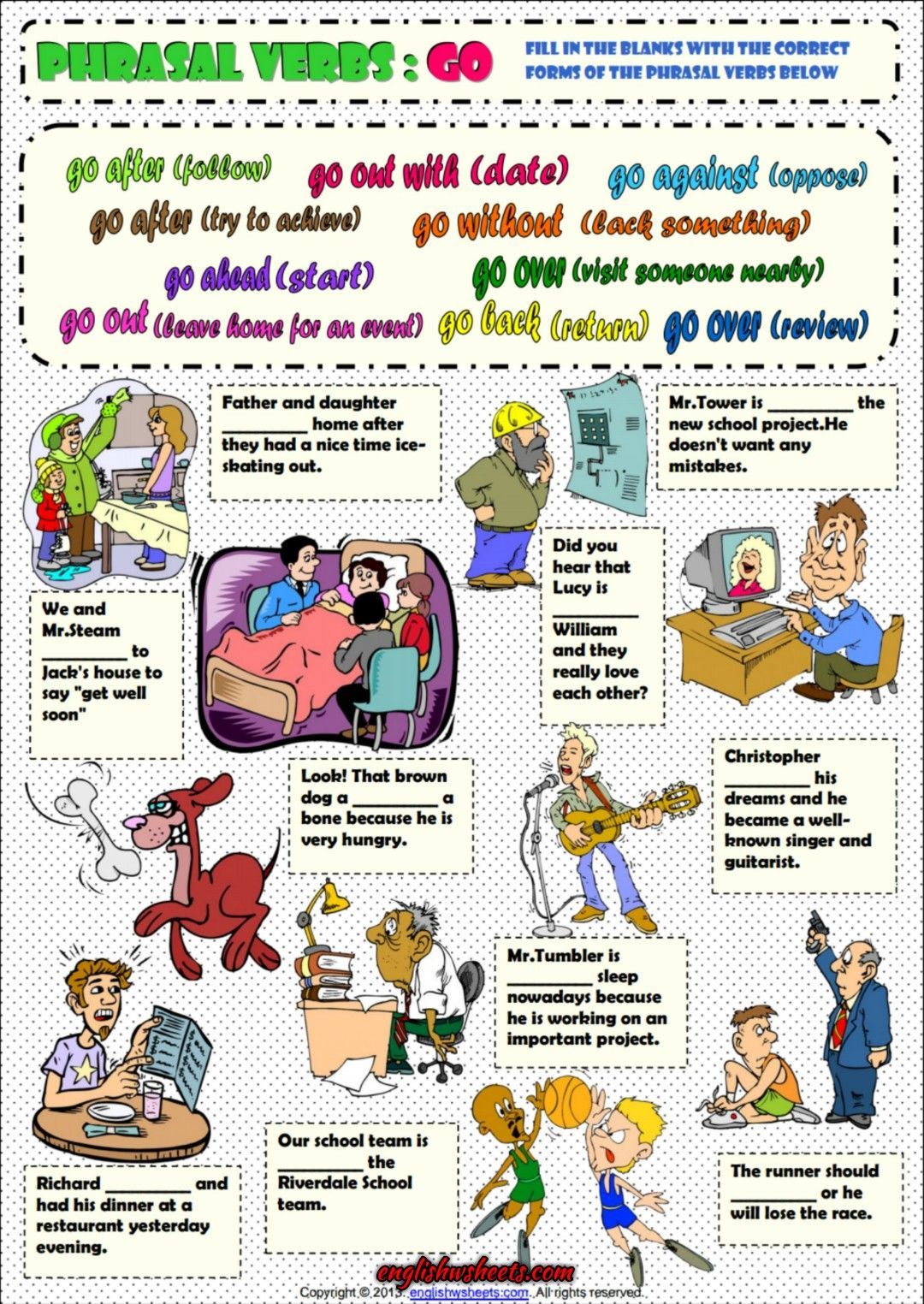 Phrasal Verbs With Go Esl Grammar Exercise Worksheet Con