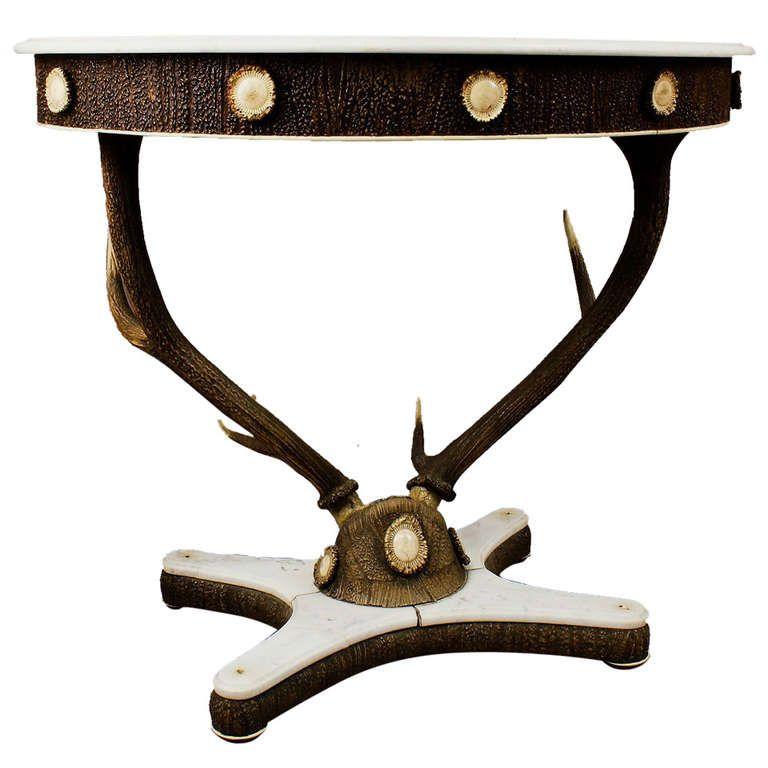 antique stag trophy antler table, austria, circa 1860   1stdibs.com
