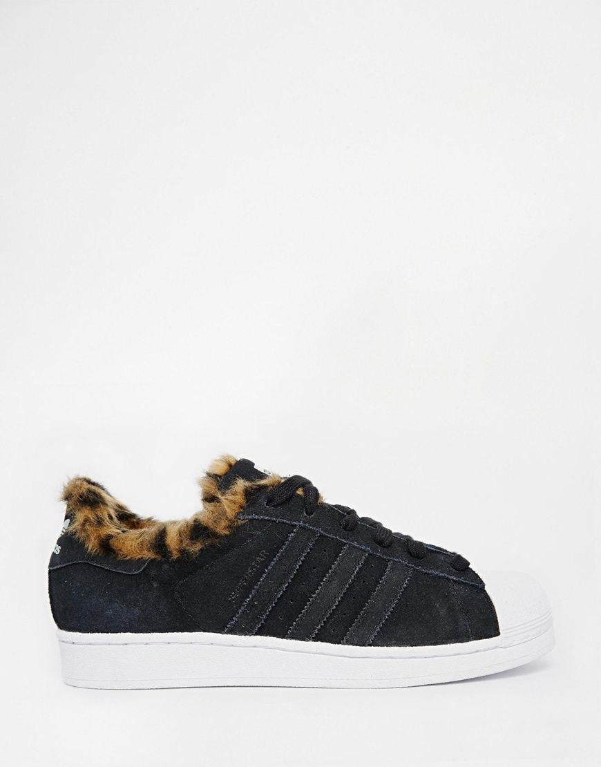 Shop adidas Originals Superstar Faux Animal Fur Trainers at ASOS.