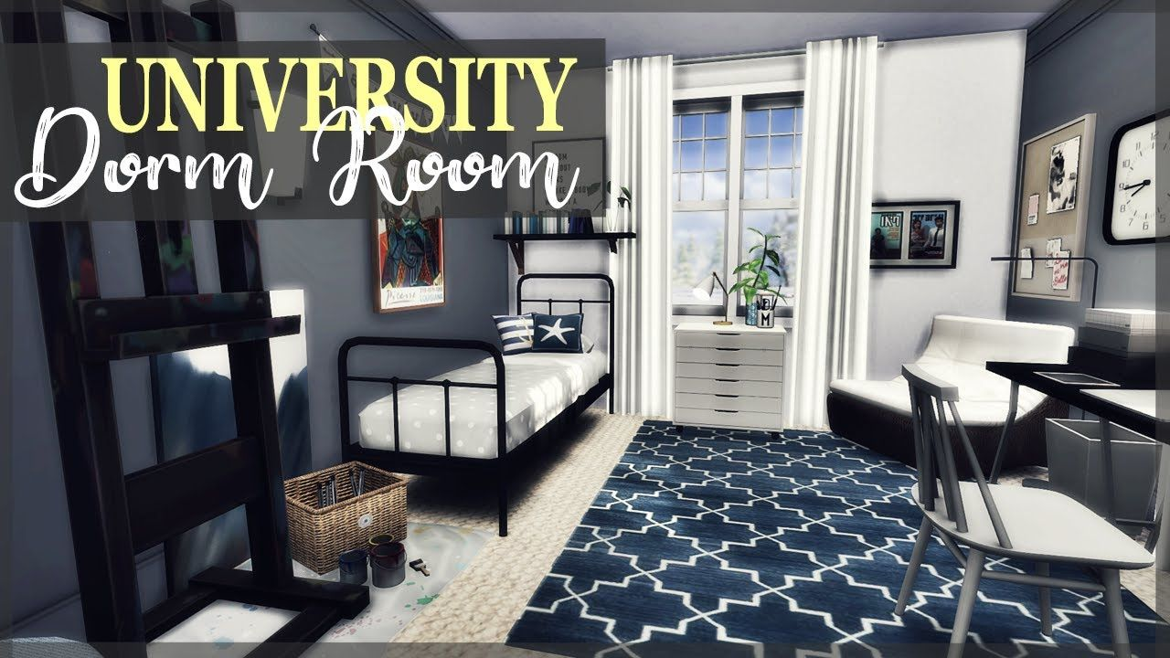 Art Student S Dorm Room The Sims 4 Speed Build Student Dorm Student Room Dorm Room