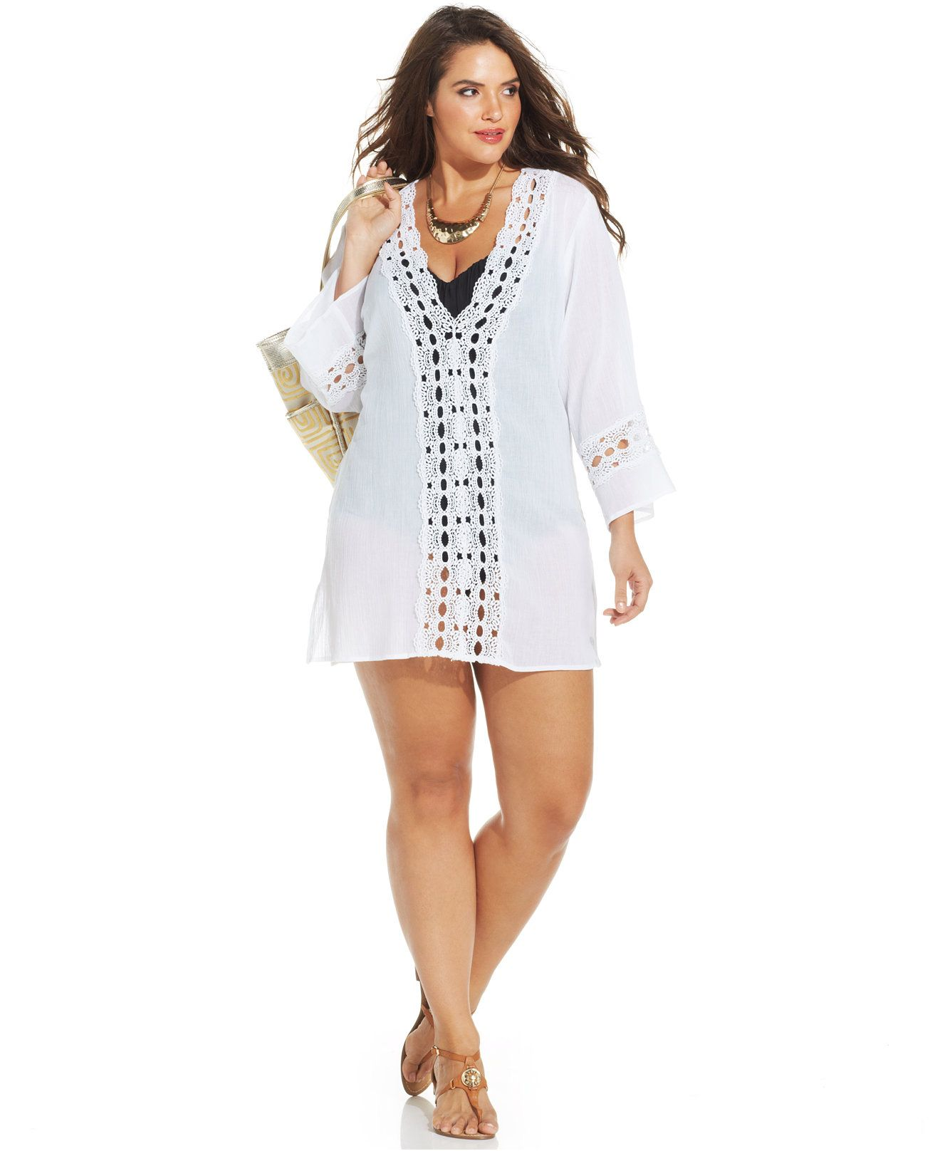 La Blanca Plus Size Crochet-Trim Tunic Cover Up - Swimwear - Plus ...