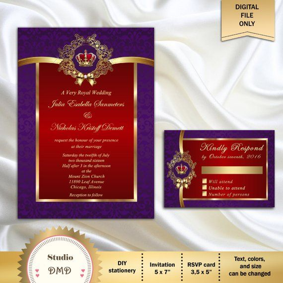 Gold And Purple Wedding Invitations: Printable Royal Wedding Invitation Set, Red Purple Gold