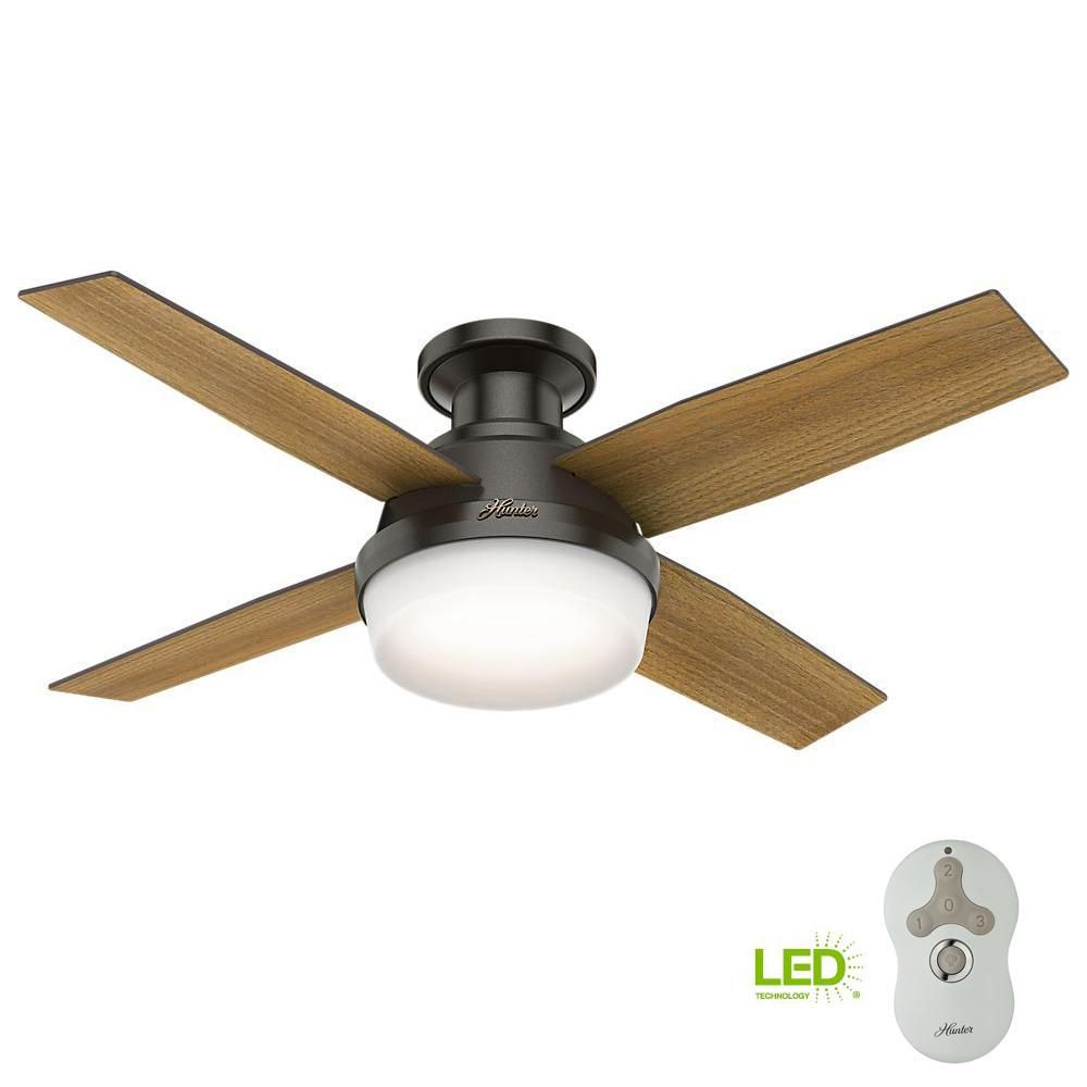 Hunter Dempsey 44 In Low Profile Led Indoor Noble Bronze Ceiling Fan With Universal Remote 59445 The Home Depot Ceiling Fan Ceiling Fan With Light Fan Light