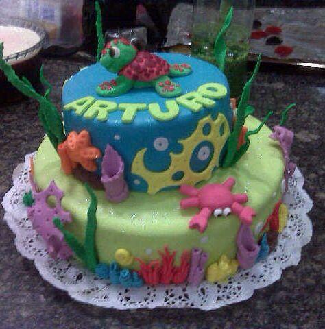 Torta primer año de Arturo con motivos del mar!!!