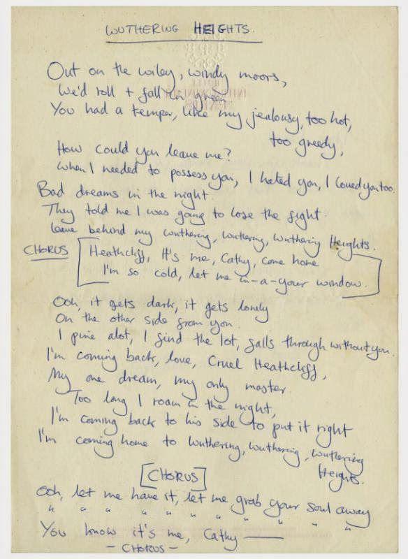 Kate Bush S Handwritten Lyrics To Wuthering Heights Sent To A Fan In 1978 Kate Bush Lyrics Kate Bush Songs Kate Bush Wuthering Heights